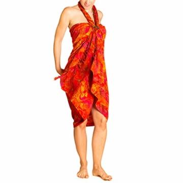 PANASIAM Sarong für Damen & Herren I 100% Handarbeit aus Indonesien - jedes Tuch ein Unikat I hochwertiger blickdichter Wickelrock I Batik m. deutschen Textilfarben I Strandtuch Fireflame Orangetone - 4