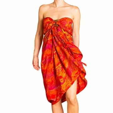 PANASIAM Sarong für Damen & Herren I 100% Handarbeit aus Indonesien - jedes Tuch ein Unikat I hochwertiger blickdichter Wickelrock I Batik m. deutschen Textilfarben I Strandtuch Fireflame Orangetone - 1