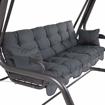 PATIO Auflagen Set Bora für Hollywoodschaukel Polsterauflage Sitzkissen Rückenkissen Seitenkissen Gesteppt D002-06PB 170 cm (dunkel grau) - 2