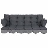 PATIO Auflagen Set Bora für Hollywoodschaukel Polsterauflage Sitzkissen Rückenkissen Seitenkissen Gesteppt D002-06PB 170 cm (dunkel grau) - 1