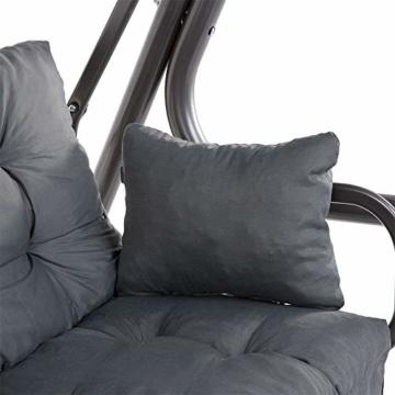 PATIO Auflagen Set Bora für Hollywoodschaukel Polsterauflage Sitzkissen Rückenkissen Seitenkissen Gesteppt D002-06PB 170 cm (dunkel grau) - 3