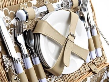 Picknickkorb 4 Personen aus Weide mit Blumen Muster - 24 teilig - Hochwertiges Picknick Set mit Deckel, Geschirr Set & Zubehör - Grün Weiß - 3