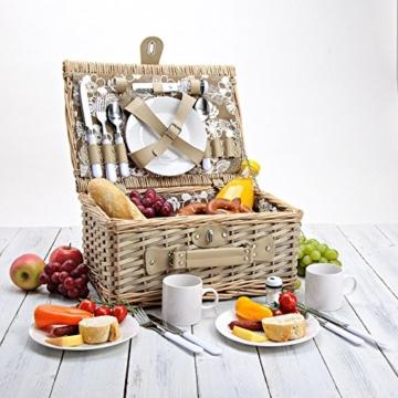 Picknickkorb 4 Personen aus Weide mit Blumen Muster - 24 teilig - Hochwertiges Picknick Set mit Deckel, Geschirr Set & Zubehör - Grün Weiß - 4