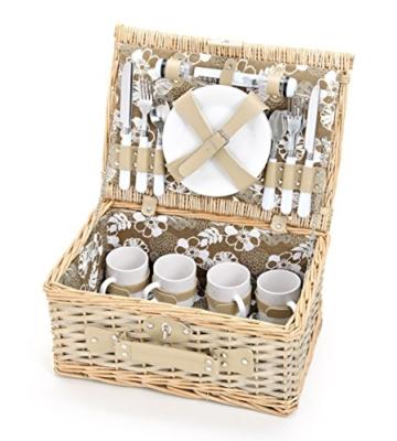 Picknickkorb 4 Personen aus Weide mit Blumen Muster - 24 teilig - Hochwertiges Picknick Set mit Deckel, Geschirr Set & Zubehör - Grün Weiß - 1