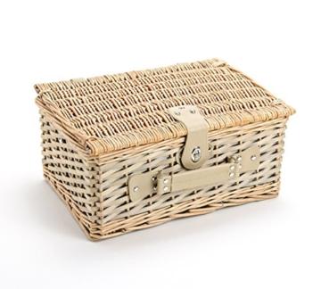 Picknickkorb 4 Personen aus Weide mit Blumen Muster - 24 teilig - Hochwertiges Picknick Set mit Deckel, Geschirr Set & Zubehör - Grün Weiß - 5