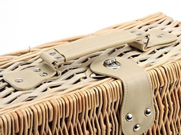 Picknickkorb 4 Personen aus Weide mit Blumen Muster - 24 teilig - Hochwertiges Picknick Set mit Deckel, Geschirr Set & Zubehör - Grün Weiß - 6