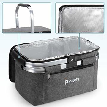 Picknickkorb, thermokorb Einkaufskorb, Kühltasche Kühlbox Isoliertasche Thermotasche Einkaufstasche Coolerbag Picknicktasche für Lebensmitteltransport Frühstück/Mittagessen mitnehmen (22L, Hellgrau) - 5