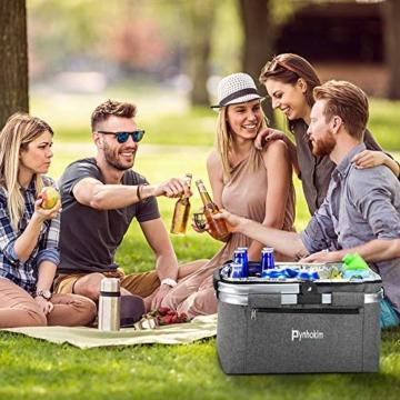 Picknickkorb, thermokorb Einkaufskorb, Kühltasche Kühlbox Isoliertasche Thermotasche Einkaufstasche Coolerbag Picknicktasche für Lebensmitteltransport Frühstück/Mittagessen mitnehmen (22L, Hellgrau) - 6