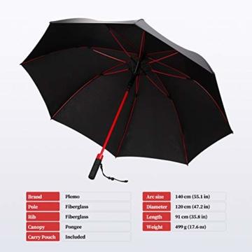Plemo Regenschirm, Hochwertiger Stylischer Stockschirm Golfschirm Partnerschirm für Zwei, 120 cm Durchmesser, Wasserabweisend - 2