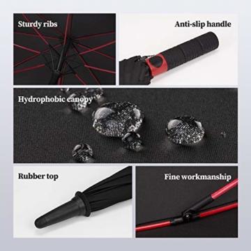 Plemo Regenschirm, Hochwertiger Stylischer Stockschirm Golfschirm Partnerschirm für Zwei, 120 cm Durchmesser, Wasserabweisend - 3