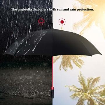 Plemo Regenschirm, Hochwertiger Stylischer Stockschirm Golfschirm Partnerschirm für Zwei, 120 cm Durchmesser, Wasserabweisend - 8