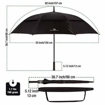 PROCELLA Regenschirm Sturmfest – Golf Schirm mit UV-Schutz für Herren und Damen - Automatisches Öffnen 157 cm - Doppellagig Winddicht Wasserdicht - Extra Groß Stockschirm XXL für Zwei Personen - 2