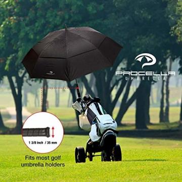 PROCELLA Regenschirm Sturmfest – Golf Schirm mit UV-Schutz für Herren und Damen - Automatisches Öffnen 157 cm - Doppellagig Winddicht Wasserdicht - Extra Groß Stockschirm XXL für Zwei Personen - 3