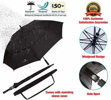 PROCELLA Regenschirm Sturmfest – Golf Schirm mit UV-Schutz für Herren und Damen - Automatisches Öffnen 157 cm - Doppellagig Winddicht Wasserdicht - Extra Groß Stockschirm XXL für Zwei Personen - 7