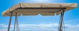 QUICK STAR Ersatzdach Gartenschaukel Universal 145x210 cm Hollywoodschaukel 3 Sitzer Sand UV 50 Ersatz Bezug Sonnendach Schaukel Dach - 1