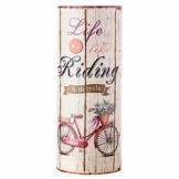 Rebecca Mobili Regenschirm Schirmhalter Leinwand beige rund Life is Riding Retro Flur (Cod. RE4760) - 1