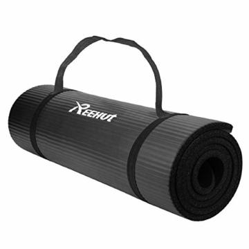 REEHUT 12mm NBR Gymnastikmatte + Tragegurt Extra-Dick rutschfest Phthalatenfrei Unisex Sportmatte für Yoga Pilates Fitness Gymnasitk, 181 x 61 cm(Schwarz) - 1