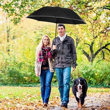 Regenschirm 62 Zoll Größe XXL Schirm Leicht Fiberglas Golfschirm mit Reflexstreifen Automatik Öffnen Stockschirme Windfeste und Sturmsicher Partnerschirm (Schwarz) - 2