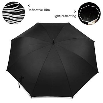 Regenschirm 62 Zoll Größe XXL Schirm Leicht Fiberglas Golfschirm mit Reflexstreifen Automatik Öffnen Stockschirme Windfeste und Sturmsicher Partnerschirm (Schwarz) - 3