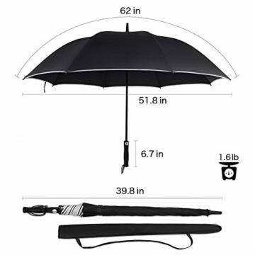 Regenschirm 62 Zoll Größe XXL Schirm Leicht Fiberglas Golfschirm mit Reflexstreifen Automatik Öffnen Stockschirme Windfeste und Sturmsicher Partnerschirm (Schwarz) - 4