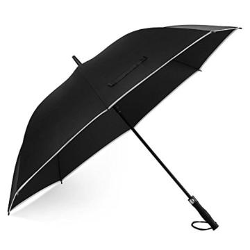 Regenschirm 62 Zoll Größe XXL Schirm Leicht Fiberglas Golfschirm mit Reflexstreifen Automatik Öffnen Stockschirme Windfeste und Sturmsicher Partnerschirm (Schwarz) - 1