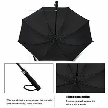 Regenschirm 62 Zoll Größe XXL Schirm Leicht Fiberglas Golfschirm mit Reflexstreifen Automatik Öffnen Stockschirme Windfeste und Sturmsicher Partnerschirm (Schwarz) - 5