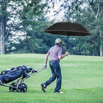Regenschirm 62 Zoll Größe XXL Schirm Leicht Fiberglas Golfschirm mit Reflexstreifen Automatik Öffnen Stockschirme Windfeste und Sturmsicher Partnerschirm (Schwarz) - 7