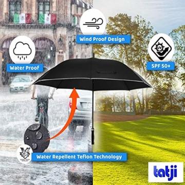Regenschirm 62 Zoll Größe XXL Schirm Leicht Fiberglas Golfschirm mit Reflexstreifen Automatik Öffnen Stockschirme Windfeste und Sturmsicher Partnerschirm (Schwarz) - 8