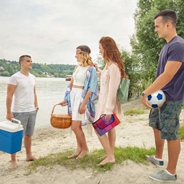 Relaxdays Picknickdecke XXL, 200 x 200 cm, Fleece Stranddecke, wärmeisoliert, wasserdicht, mit Tragegriff, bunt kariert, schwarz-rot - 2