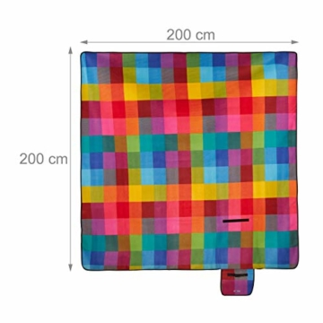 Relaxdays Picknickdecke XXL, 200 x 200 cm, Fleece Stranddecke, wärmeisoliert, wasserdicht, mit Tragegriff, bunt kariert, schwarz-rot - 3