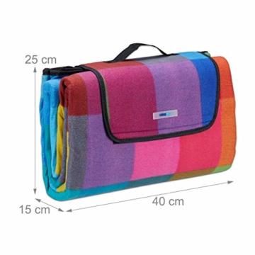 Relaxdays Picknickdecke XXL, 200 x 200 cm, Fleece Stranddecke, wärmeisoliert, wasserdicht, mit Tragegriff, bunt kariert, schwarz-rot - 5