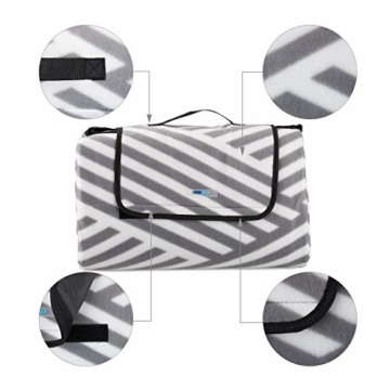 Relaxdays Picknickdecke XXL, 200 x 200 cm, wärmeisoliert, Faltbare Stranddecke, wasserdicht, mit Tragegriff, grau-weiß - 2