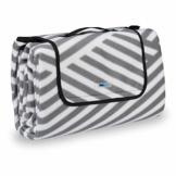 Relaxdays Picknickdecke XXL, 200 x 200 cm, wärmeisoliert, Faltbare Stranddecke, wasserdicht, mit Tragegriff, grau-weiß - 1