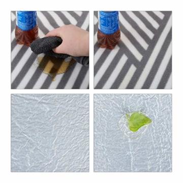 Relaxdays Picknickdecke XXL, 200 x 200 cm, wärmeisoliert, Faltbare Stranddecke, wasserdicht, mit Tragegriff, grau-weiß - 7