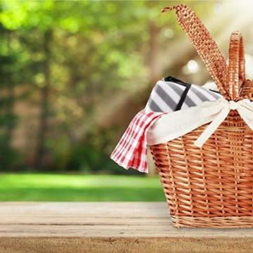 Relaxdays Picknickdecke XXL, 200 x 200 cm, wärmeisoliert, Faltbare Stranddecke, wasserdicht, mit Tragegriff, grau-weiß - 8