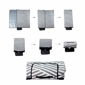 Relaxdays Picknickdecke XXL, 200 x 200 cm, wärmeisoliert, Faltbare Stranddecke, wasserdicht, mit Tragegriff, grau-weiß - 9