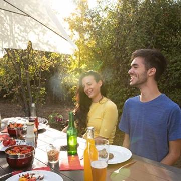 Relaxdays Sonnenschirm rechteckig, 200 x 120 cm Strandschirm, höhenverstellbarer Gartenschirm mit Kippfunktion, weiß - 2