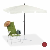 Relaxdays Sonnenschirm rechteckig, 200 x 120 cm Strandschirm, höhenverstellbarer Gartenschirm mit Kippfunktion, weiß - 1