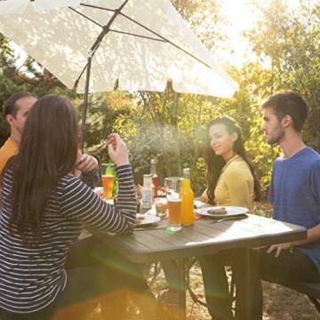 Relaxdays Sonnenschirm rechteckig, 200 x 120 cm Strandschirm, höhenverstellbarer Gartenschirm mit Kippfunktion, weiß - 3