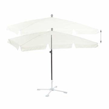Relaxdays Sonnenschirm rechteckig, 200 x 120 cm Strandschirm, höhenverstellbarer Gartenschirm mit Kippfunktion, weiß - 4