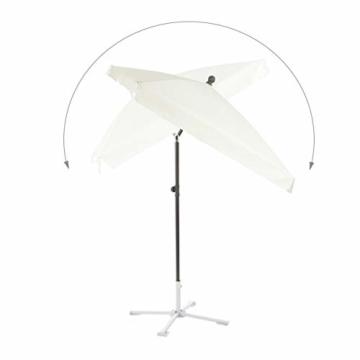 Relaxdays Sonnenschirm rechteckig, 200 x 120 cm Strandschirm, höhenverstellbarer Gartenschirm mit Kippfunktion, weiß - 6