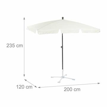 Relaxdays Sonnenschirm rechteckig, 200 x 120 cm Strandschirm, höhenverstellbarer Gartenschirm mit Kippfunktion, weiß - 7
