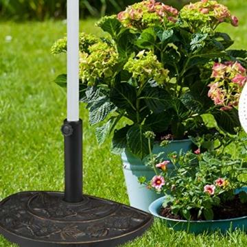 Relaxdays Sonnenschirmständer halbrund, wetterfest, schwer, Garten & Terrasse, Stockgröße 38 mm, BxT: 50 x 32 cm, braun - 7