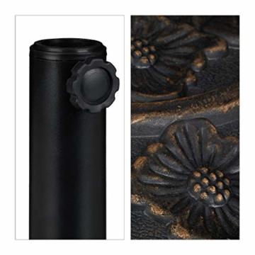 Relaxdays Sonnenschirmständer halbrund, wetterfest, schwer, Garten & Terrasse, Stockgröße 38 mm, BxT: 50 x 32 cm, braun - 8