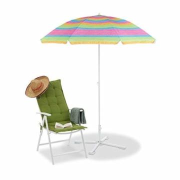 Relaxdays Strandschirm gestreift, höhenverstellbarer Sonnenschirm, Gartenschirm mit 50+ UV-Schutz, HD 210 x 170 cm, bunt - 2