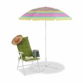 Relaxdays Strandschirm gestreift, höhenverstellbarer Sonnenschirm, Gartenschirm mit 50+ UV-Schutz, HD 210 x 170 cm, bunt - 1