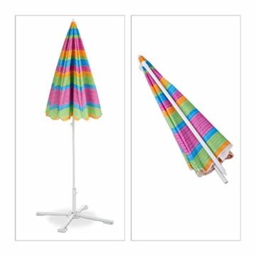 Relaxdays Strandschirm gestreift, höhenverstellbarer Sonnenschirm, Gartenschirm mit 50+ UV-Schutz, HD 210 x 170 cm, bunt - 3