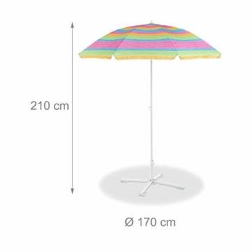 Relaxdays Strandschirm gestreift, höhenverstellbarer Sonnenschirm, Gartenschirm mit 50+ UV-Schutz, HD 210 x 170 cm, bunt - 6