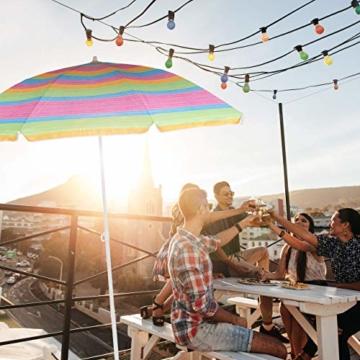 Relaxdays Strandschirm gestreift, höhenverstellbarer Sonnenschirm, Gartenschirm mit 50+ UV-Schutz, HD 210 x 170 cm, bunt - 7