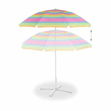 Relaxdays Strandschirm gestreift, höhenverstellbarer Sonnenschirm, Gartenschirm mit 50+ UV-Schutz, HD 210 x 170 cm, bunt - 8